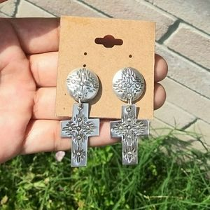 MEX Sterling Silver Handmade Cross Dangle Earrings